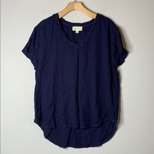 Cloth & Stone Short Sleeve Curved Hem Navy Tee